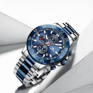 Image 2 - Relogio Masculino 2020 MEGALITH luruxy kwarcowy zegarek mężczyźni pełny stalowy pasek tłoczone głowa wilka zegar mężczyźni wodoodporny zegarek świetlny