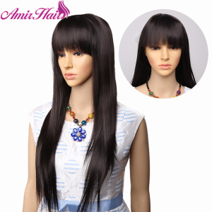 Women's Silky Long Straight Black Wig Heat Resistant Synthetic Wig With Bangs Hair Wig for Women Ombre Blonde Brown wigs Cosplay