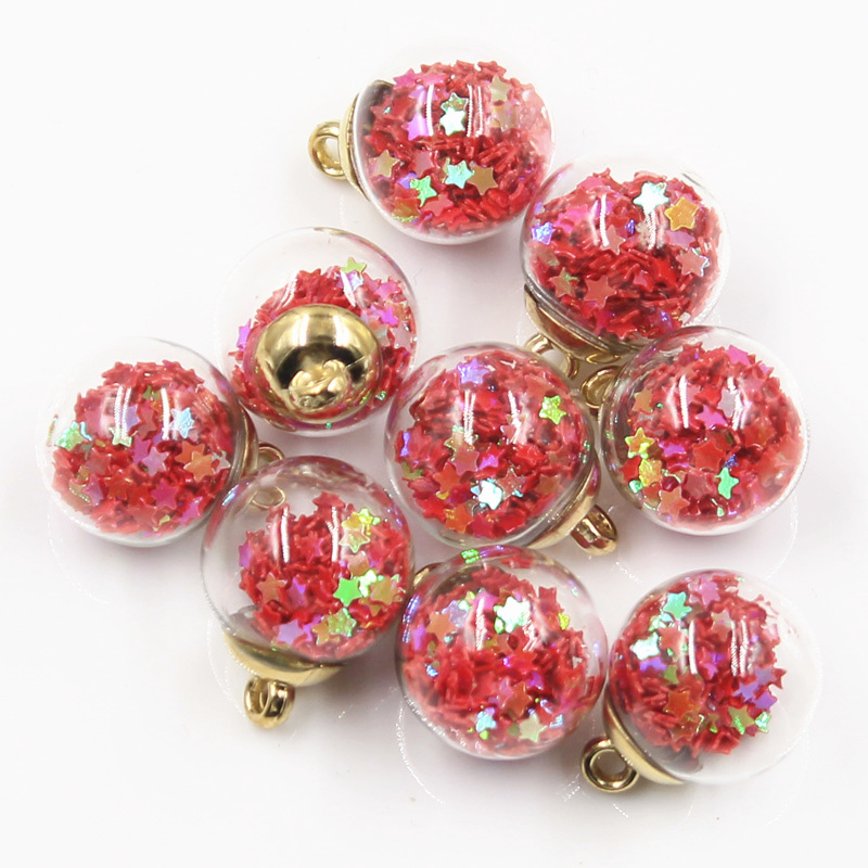 20pcs Charms Star Sequins Transparent Glass Ball 15mm Pendants Crafts Making Findings Handmade Jewelry DIY for Earrings Necklace 3