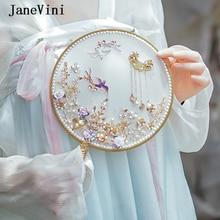 JaneVini Luxe Goud Chinese Bruidsboeketten Fan Handgemaakte Bloemen Parels Kralen Metalen Bridal Ronde Hand Fan Bruiloft Accessoires