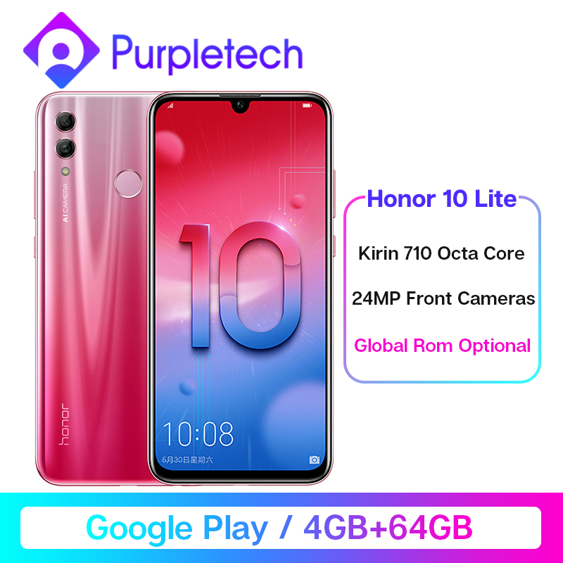"Global ROM Honor 10 Lite Smartphone 4GB /64GB Kirin 710 Octa Core 6.21"" 2340X1080P 24MP Front Camera Android 9.0 Cell Phones"