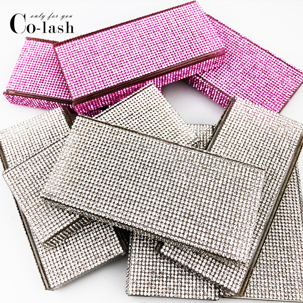 Colash Custom Rhinestone Packaging Box Fake 3d Mink Eyelashes Diamond  Boxes Faux Cils Magnetic Case Lashes Empty