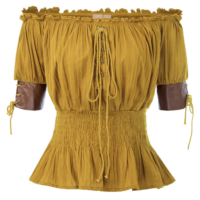 Belle Poque Summer Shirts Sexy Women Vintage Retro Steampunk Victorian Half Sleeve Off Shoulder Tops Solid Color New Gothic Lady 4