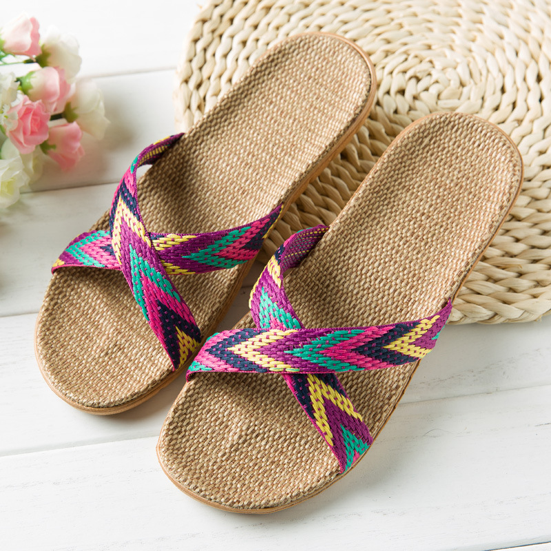 2019 summer linen home slippers ladies shoot beach slippers slip unisex family slippers thick bottom indoor sandals and slippers in Slippers from Shoes