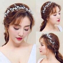 2021 Fashion Western Wedding Headdress For Bride Handmade Wedding Crystal Pearl Hair Accessories Rhinestone Hairpin Headban