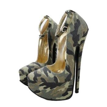 Sorbern, zapatos de camuflaje para mujer, plataforma de zapatos, tacones puntiagudos, tacones tobilleros de 8 pulgadas, correa, zapato fetiche Sexy, colores personalizados