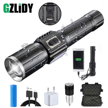 USB Rechargeable LED flashlight Waterproof torch interface to charge the phone Zoomable 7 lighting modes use 18650 Battery