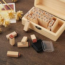 36Pcs/Set DIY Handmade Wooden Numbers English Letters Stamps Seal Diary Decor