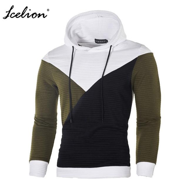 IceLion 2019 Autumn Hoodies Men Sweatshirt Patchwork Slim Fit Cotton Sportswear Fashion Tracksuit Hip Hop Streetwear Pullover