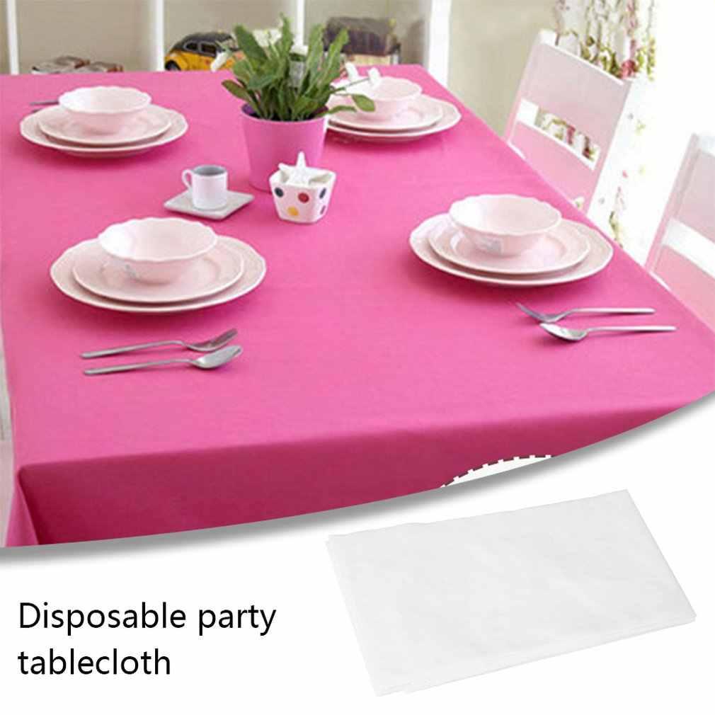 Mantel desechable de Pe para fiesta, mantel de plástico para cumpleaños, postre, mesa, mantel de Color sólido de 137x274Cm