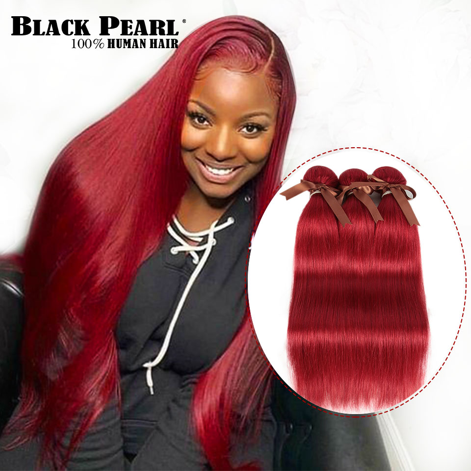 Black Pearl Brazilian Straight Hair Weave 1 Bundles Human Hair Extension Vendors 8 To 28 Inch Remy Red 100% Human Hair Bundles