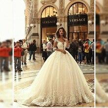 2020 אלגנטי חתונת שמלה עם 3/4 שרוולי כלה שמלה