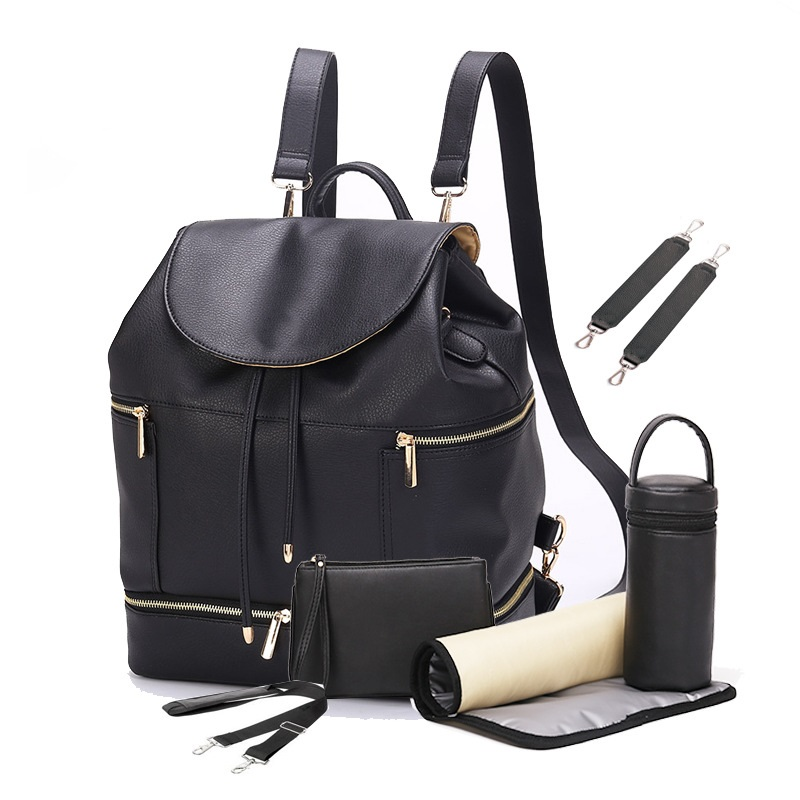 PU Leather Diaper Bag Baby Mummy Maternity Bag Backpack Nappy Nursing Bags Outdoor Travel Bag With Changing Pad for Baby Care