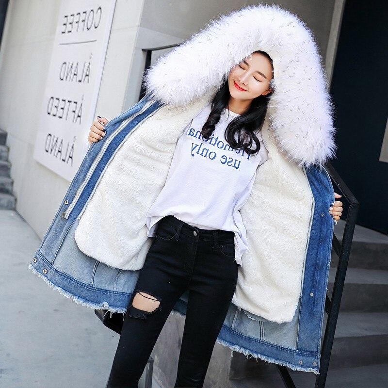 Зимняя меховая парка, джинсовая куртка, Женское зимнее пальто с капюшоном, Длинная женская куртка, высокое качество, искусственный мех, с подкладкой, теплая Женская куртка, пальто