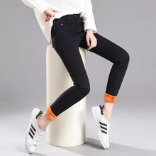 Jeans Women Thick Velvet Winter Trousers  Warm Pencil Denim Pants Slim Casual Ankle Jean