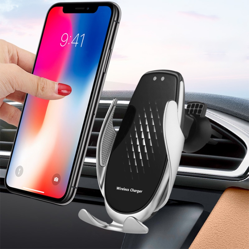 15w <font><b>Wireless</b></font> <font><b>Car</b></font> <font><b>Charger</b></font> with Qi Automatic Clamp Super Fast Charge Mount For iPhone 11 8 Huawei P30 Samsung S8 Smartphone Holder image