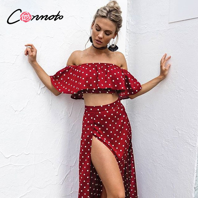 Conmoto Women Off Shoulder Red Vintage Dot Long Dress Summer Maxi Dress Chiffon Ruffle Sexy Beach Dresses Vestidos