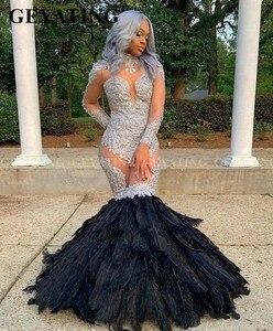 Image 4 - 섹시한 실버 레이스를 통해 인어 검은 깃털 아프리카 댄스 파티 드레스 긴 소매 플러스 사이즈 졸업 가운 공식 드레스