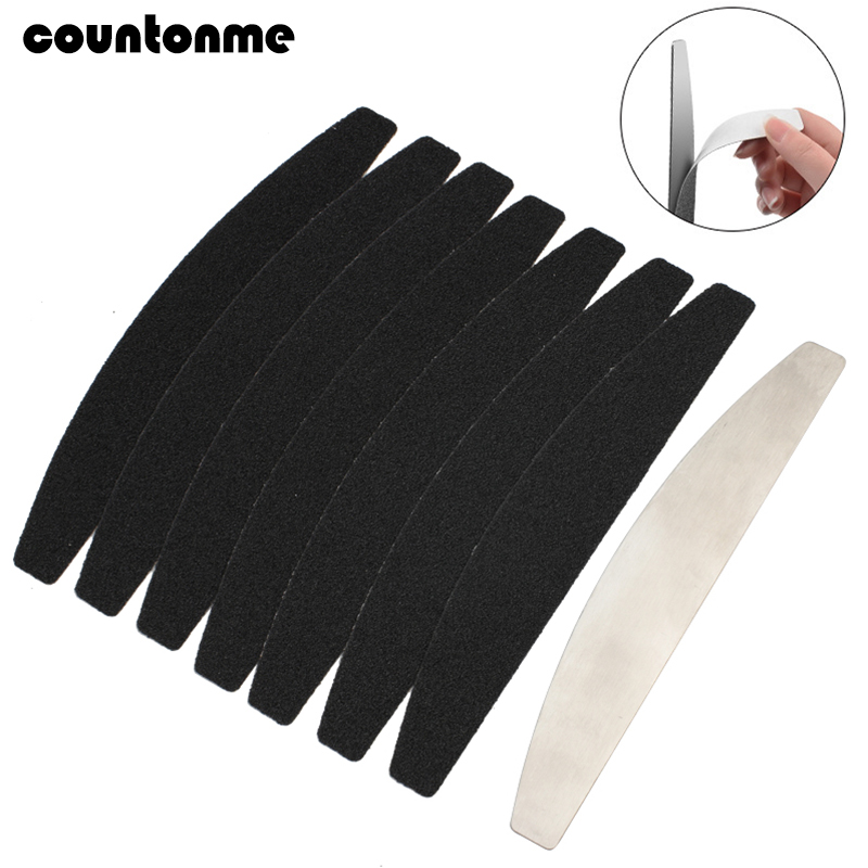 Stainless Steel Nail File  Replacement Nail Buffer Block Metal Handle With 10 Pcs Black Sand Paper Strips Sanding Manicure File