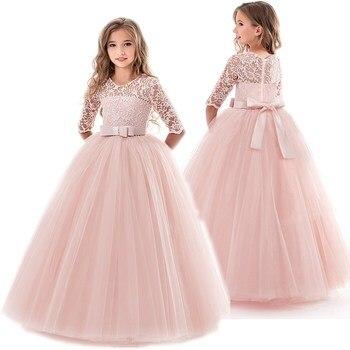 Платье для девочек-подростков; Летняя детская одежда; Элегантные вечерние длинные фатиновые платья принцессы для маленьких девочек; Кружевное платье для свадебной церемонии