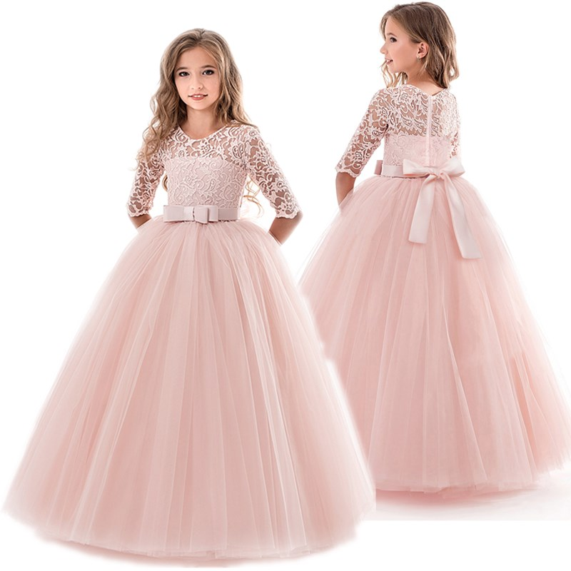 Teenage Girls Dress Summer Children's Clothing Party Elegant Princess Long Tulle Baby Girls Kids Lace Wedding Ceremony Dresses