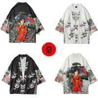 Japanese Clothes Style Female Floral Print Men Cardigan Asian Kimono Daily Haori Fashion Clothing Japan Blouse Samurai Male