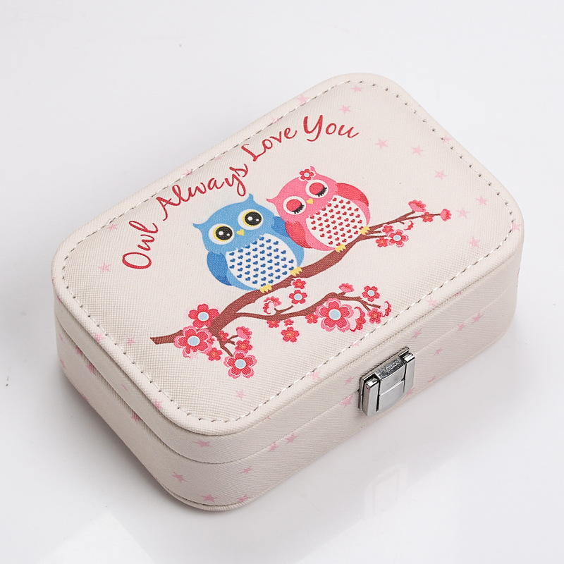 Fashion Travel Portable Print Owl Jewelry Box Stud Earrings Watch Jewelry Storage Box Jewelry Storage Earring Box Necklace Box