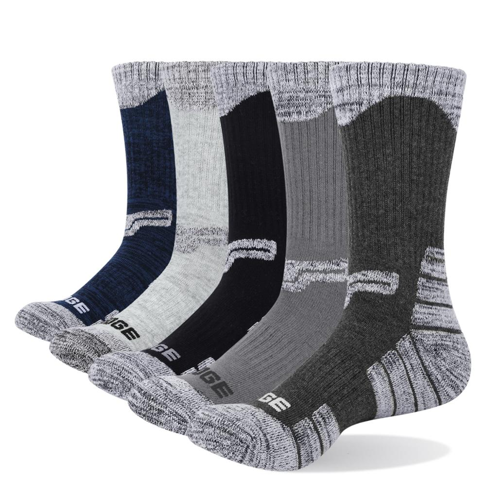 YUEDGE Brand Men High Quality Cotton Breathable Cushion Casual Sports Hiking Runing Crew Dress Socks (5 Pairs/Pack)