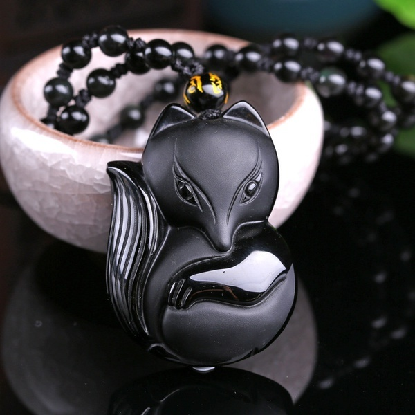 Natural Quality Goods Obsidian Fox Pendant Fox Spirit Fortune Transfer From The Peach Blossom