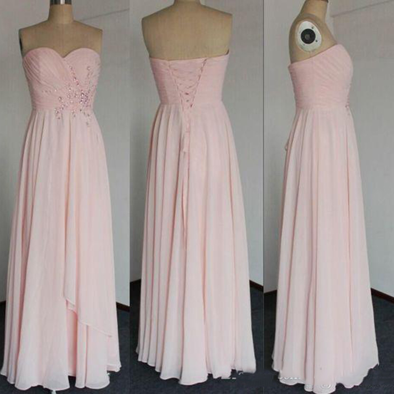 2019 Prom   Dress   Strapless Sweetheart   Bridesmaid     Dress   With A Line Floor Length Pleat Crystal Beads Chiffon Lace Up Party