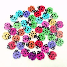100pcs/bag seven-spot ladybug button creative cartoon beetle wood button clothes decoration accessories diameter about 1.8cm