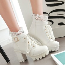 2019 جديد أزياء من الدانتل الأحذية النسائية سميكة عالية الكعب حذاء كاحل برباط أحذية الخريف الشتاء منصة الدانتيل طالب الأحذية الأبيض