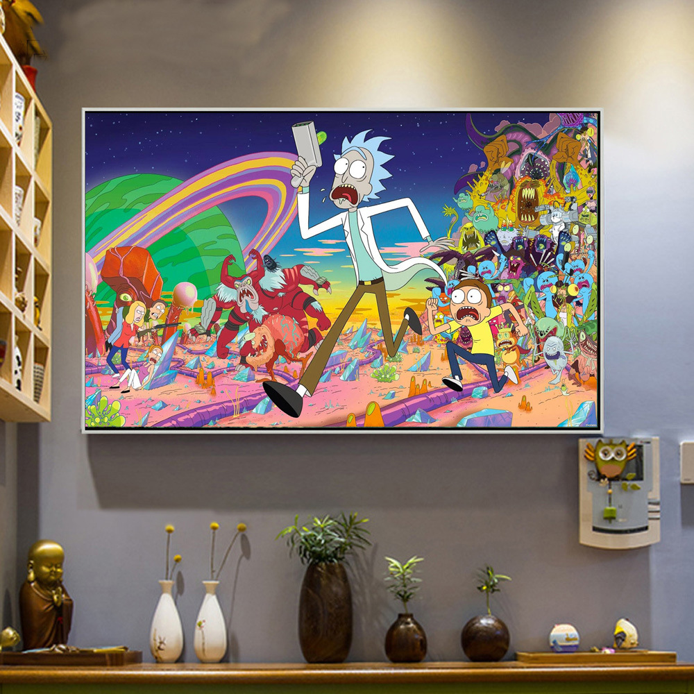 Cartoon Canvas Wall Art Rick And Morty Posters Print Painting Wall Pictures For Living Room Bedroom Home Decoration No Frame