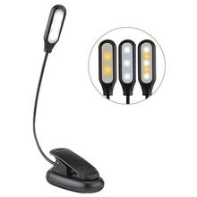 110lm 3 Modes Book Light USB Rechargeable Flexible 1W 5 LED Clip Reading Night Light Brightness Table Lamp Desk Bedside Lantern