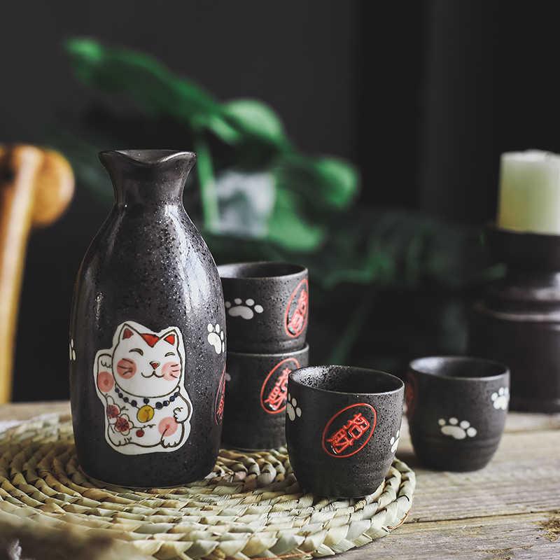 Japon Sake Set Seramik Flagon karaf İçme Kupası Maneki Neko Şanslı Kedi şarap seti Bar Seti (1 pot + 4 bardak)