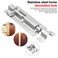 1PCS Stainless Steel Home decoration door Latch 1.5/2/3/4/6/8/10/12 Inch Long Silver window latch Sliding Lock Barrel Bolt Latch|Door Bolts| |  -