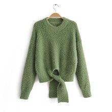 Элегантный белый женский мохеровый вязаный пуловер свитер джемпер