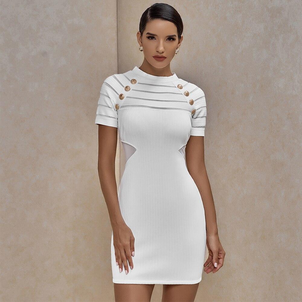 Ocstrade nova chegada inserção de malha branco vestido bandagem 2020 verão feminino sexy bandagem vestido bodycon noite clube festa vestido
