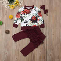 3pcs Autumn Winter Infant New Born Clothes Set Baby Girl Outfits Long Sleeve Printed T Shirt Ruffle Pants Clothing Sets