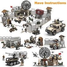 Call of Duty Military Operational Radar Base Humvee Soldiers Weapon Building Blocks Fit WW2 Mega Bloks Construx MiniFigures