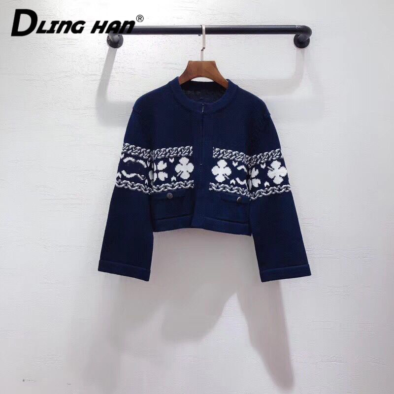 LINGHAN High Quality Jacquard Knitted Short Coat Fashion Button O-Neck Cardigans Sweater Designer Spring Summer New