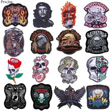 Prajna Punk Skull Patch Motorcycle Biker Embroidered Patches For Clothing Iron On Patches On Clothes DIY Stripes On Man Jacket