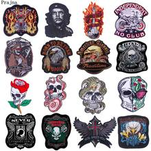 Prajna-Patch Patch crâne Punk pour moto, patchs brodés sur vêtements sur vêtements, à rayures, DIY sur veste pour homme