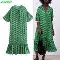 VUWWYV Za Frau Kleider Grünen Druck Rüsche Plus Größe Kleid Frauen Sommer 2021 Kurzarm Afrikanischen Kleid Vintage Midi Vestidos