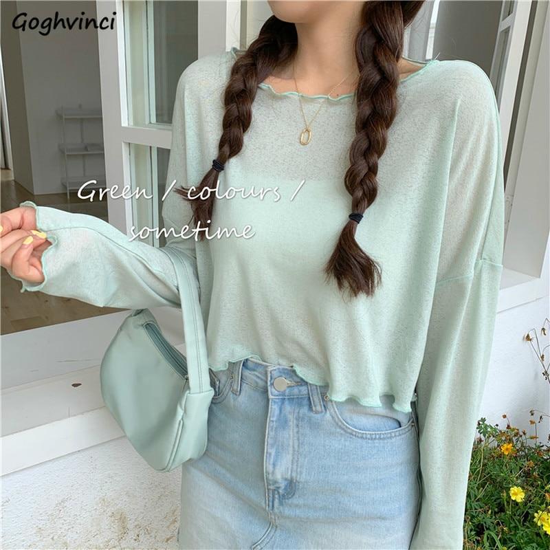 Camisetas de tejido de malla de Color caramelo para mujer, blusas holgadas de manga larga con volantes de estilo coreano, ropa dulce fina de verano