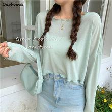 T-shirts femmes couleur bonbon maille tricot à manches longues en vrac volants Style coréen été doux mince belle doux à la mode vente chaude
