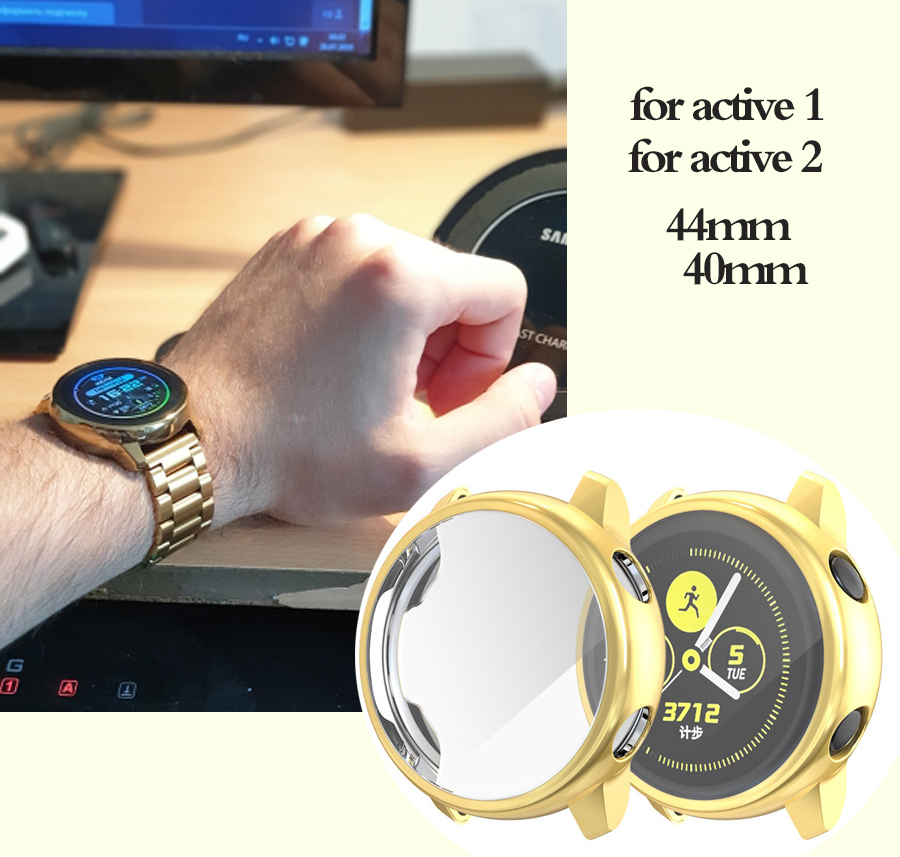 Galaxy watch active for Samsung galaxy watch active 2 44mm 40mm screen silicone case watch Accessories galaxy watch active