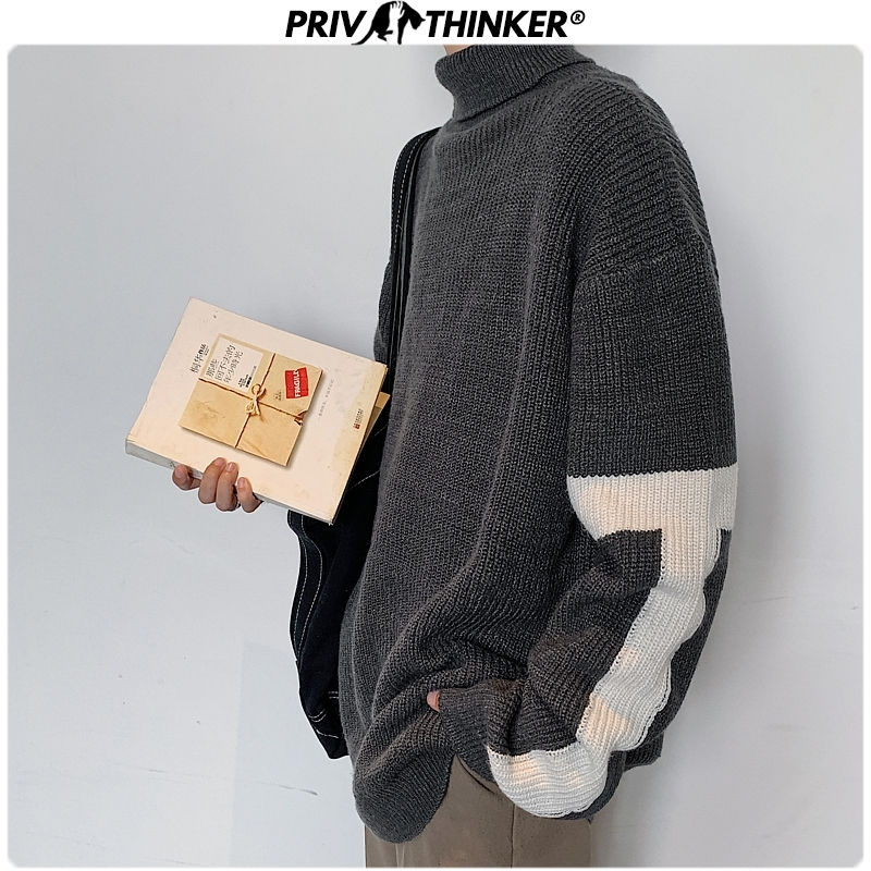 Privathinker Men Turtleneck Casual Fashion Clothes Sweaters Mens Harajuku Thicken Warm Pullovers 2019 Male Autumn Winter Sweater