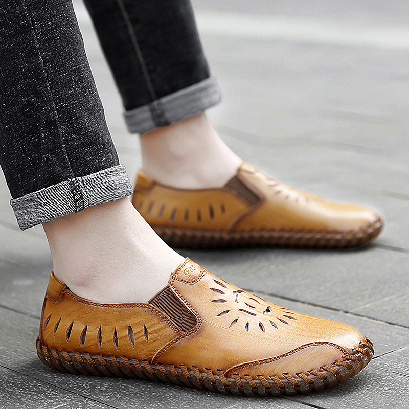 men genuine leather casual loafers Summer flats slip-on breathable handmade sewing moccasins autumn punching fashion drive shoes 4