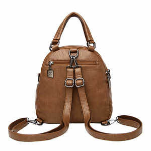 Image 3 - Women Leather Backpacks High Quality Mochila Feminina  Multifunction Backpack For Girls Solid Vintage Bagpack Ladies Back Pack